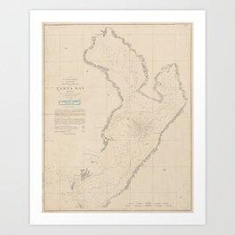 Vintage Map of Tampa Bay FL (1855) Art Print