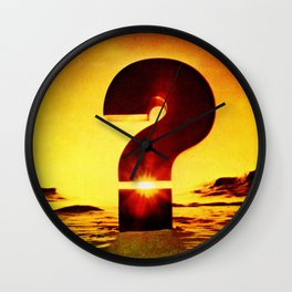Vintage 1970's Question Mark With Sunset Wall Clock