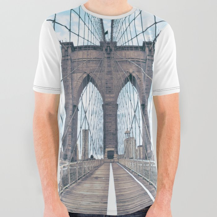 16650286b Brooklyn Bridge All Over Graphic Tee by casesbykate | Society6