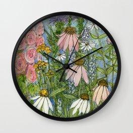 Garden Flowers Bee Blue Sky Nature Art Floral Watercolor Print Wall Clock
