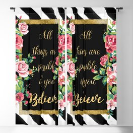 "Modern golden inspirational  quote, ""all things are possible if you believe"" Blackout Curtain"
