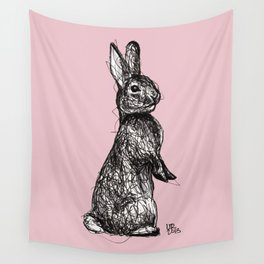 Pink Woodland Creatures - Bunny Wall Tapestry