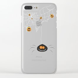 Halloween Spider on Web Clear iPhone Case
