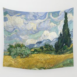 Wheat Field with Cypresses by Vincent van Gogh Farmhouse Aesthetic Blue Emerald Green Golden Yellow Wall Tapestry