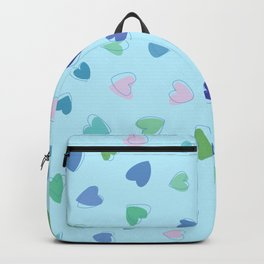 Love, Romance, Hearts - Blue Green Pink Backpack