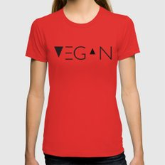 vegan me Red Womens Fitted Tee MEDIUM
