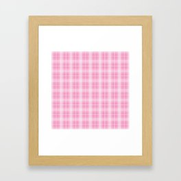 Bright Chalky Pastel Magenta Tartan Plaid Framed Art Print