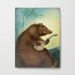 Mandolin Bear Metal Print