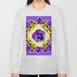 PURPLE GEOMETRIC  PURPLE & YELLOW  PANSIES  WITH CREAM COLOR Long Sleeve T-shirt