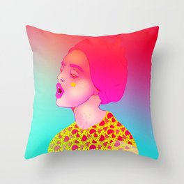 Pink Hair | Sci-fi Space Girl, Cyber Punk, Woman Portrait, Digital Art, Illustration  Throw Pillow