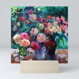 Flowers on The Garden Table Mini Art Print