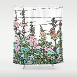 flowers and leaves on white background Shower Curtain