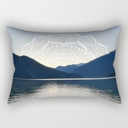 Pacific Northwest Lake Mandala Sunset Rectangular Pillow