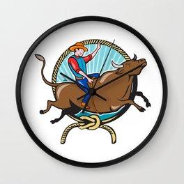 Rodeo Cowboy Bull Riding Lasso Cartoon Wall Clock