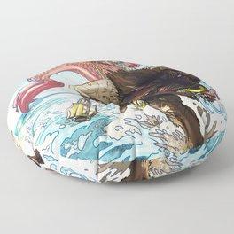 MERMAID RIDING A MINOTAUR Floor Pillow