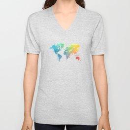 World Map splash 1 Unisex V-Neck