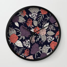 Purple, Gray, Navy Blue & Coral Floral/Botanical Pattern Wall Clock