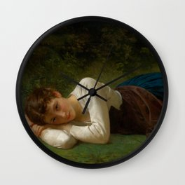 "William-Adolphe Bouguereau ""Le Repos (Jeune Fille Couchée)(Young Girl Lying Down)"" Wall Clock"