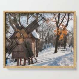Winter Romanian postcard with windmills Serving Tray
