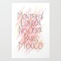 cities Art Prints featuring CITIES by K'VAL