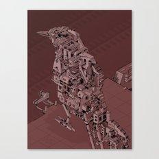 Red Bird Machine City Canvas Print