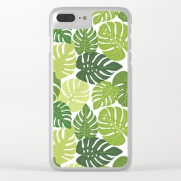 Monstera Leaves Pattern (white background) Clear iPhone Case
