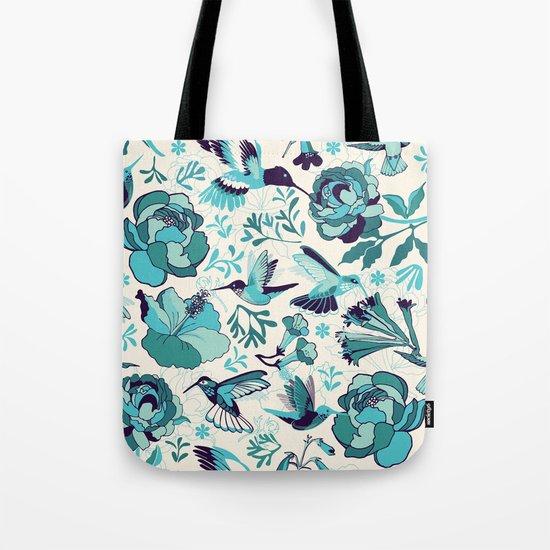 Hummingbird summerdance, Blue Tote Bag