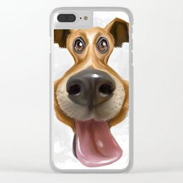 This is digital caricature painting of a dog Clear iPhone Case