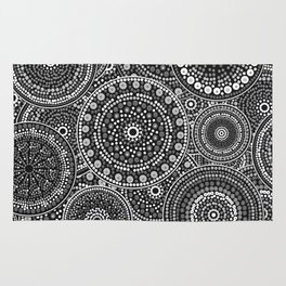 Dot Art Circles Grayscale Rug