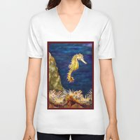 sea horse V-neck T-shirts featuring Sea horse by Michelle Behar