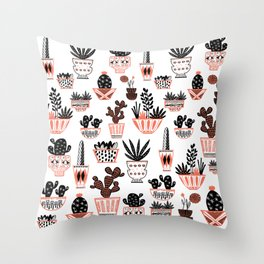 Mid-Century Modern Cacti Throw Pillow