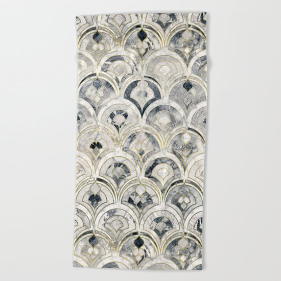 Monochrome Art Deco Marble Tiles Beach Towel