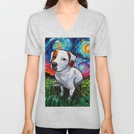 Pitbull Mix Starry Night Unisex V-Neck