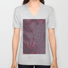 Raspberry Swirl - Pink Fractal - Abstract Art by Fluid Nature Unisex V-Neck