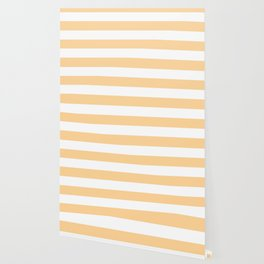 Caramel - solid color - white stripes pattern Wallpaper