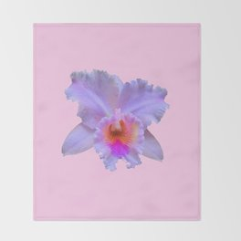 PINK ART TROPICAL CATTLEYA ORCHID FLOWER Throw Blanket