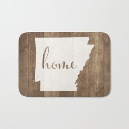 Arkansas is Home - White on Wood Bath Mat