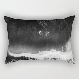 Surfer girls from above in Ericeira Portugal | Ocean wanderlust photography black and white print Rectangular Pillow
