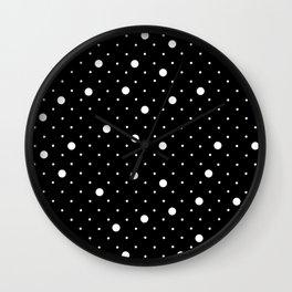 Pin Point Polka Dots White on Black Wall Clock