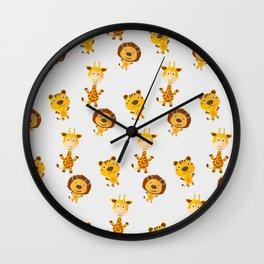 Cartoon animal cute pattern Wall Clock