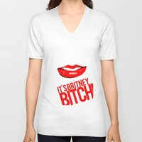 britney V-neck T-shirts featuring Britney Lips by Tadeu Marques