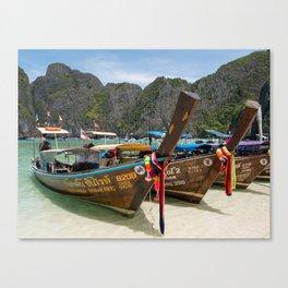 Long Tail Boats, Maya Bay, Ko Phi Phi Lee Island, Thailand Canvas Print