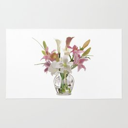 vase and flowers on white background . art Rug