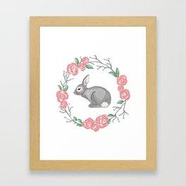 Spring Wreath with Bunny Framed Art Print