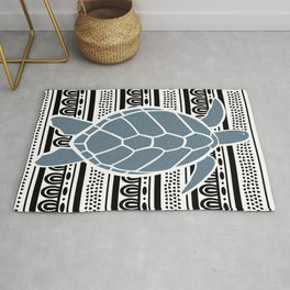Blue Sea Turtle on b&w Rug