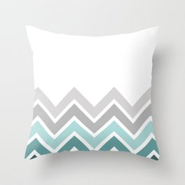 WHITE/ TEAL CHEVRON FADE Throw Pillow
