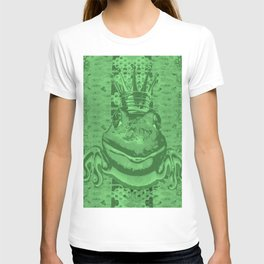 Mossy Deep Green King Frog Smile T-shirt
