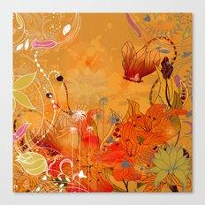 Boho Floral Pattern Canvas Print