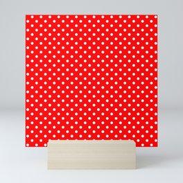 Polka dots White dots over red Mini Art Print