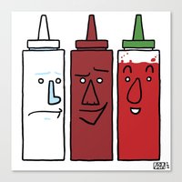 sriracha Canvas Prints featuring Mayo, BBQ, and Sriracha by Dee Bee Monster